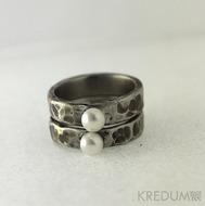 Prsten kovaná nerezová ocel - Draill s perlou