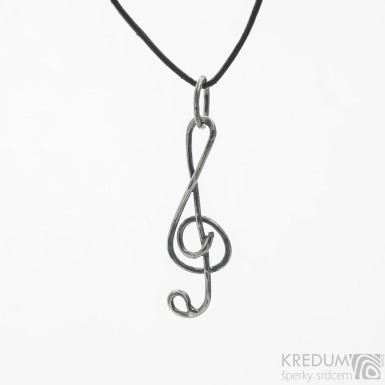 Houslový klíč - stříbrný přívěsek s patinou - SK3791