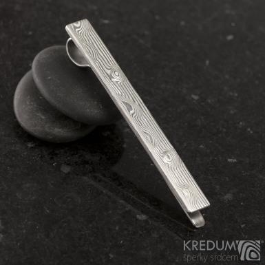 Pan Q - Kovaná damasteel spona na kravatu - struktura dřevo