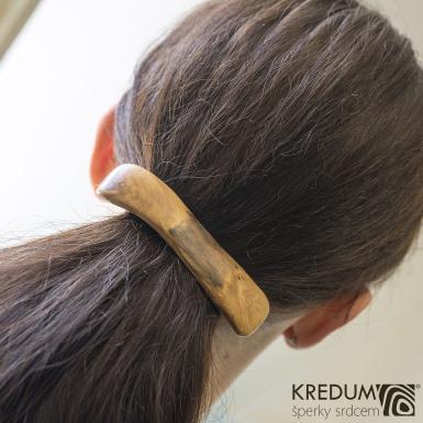 Jabloňová - Ručně vyrobená dřevěná spona, produkt č. 1012