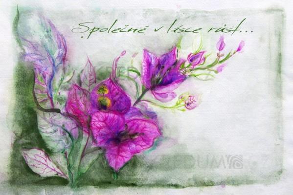 Ručně malované oznámení k svatbě - Společně v lásce růst - návrh umístění textu