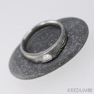 Siona line a diamant 2,75 mm - Kovaný prsten damasteel struktura dřevo, produkt S1335
