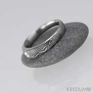 Siona line a diamant 2,75 mm - Kovaný prsten damasteel, S1335