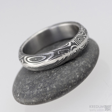 Snubní prsten nerezová ocel damasteel - Steel line - vítr