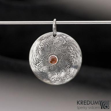 Puklík a kámen 4 mm do stříbra - damasteel přívěsek