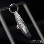Puklik a Karneol 4 mm osazený ve stříbře - Damasteel přívěsek, produkt č. 2113