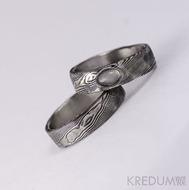 Snubní prsten nerezová ocel damasteel - Natura a kámen kabošon - měsíční kámen