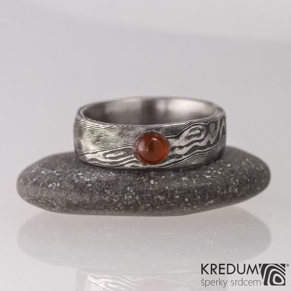 Snubní prsten nerezová ocel damasteel - Natura a kámen kabošon - karneol