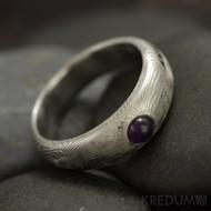 Siona a kabošon - Kovaný snubní prsten damasteel
