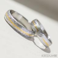 Snubní prsten damasteel, zlato a diamant 1,5 mm - Goda - struktura voda, lept 75% světlý - ilustrační pánský prsten bez diamantu