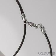 Kulatá kožená šňůrka 1,5 mm s nerezovým zapínáním - černá