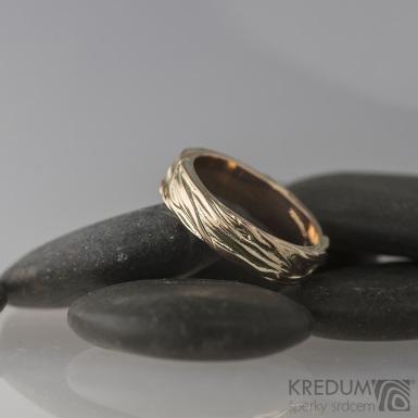 Motaný prsten - Gordik Mokume Gold