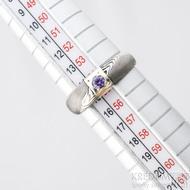 Prima Space se zirkonem 3 mm - velikost 55, čířka hlavy 5,5 mm do dlaně 3,2 mm, tloušťka 1 - 2,6, dřevo 75TM - Damasteel zásnubní prsten, SK1635 (4)