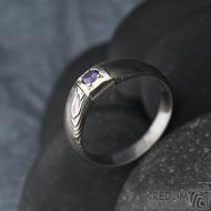 Prima Space se zirkonem 3 mm - velikost 55, čířka hlavy 5,5 mm do dlaně 3,2 mm, tloušťka 1 - 2,6, dřevo 75TM - Damasteel zásnubní prsten, SK1635 (6)
