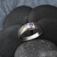 Prima Space se zirkonem 3 mm - velikost 55, čířka hlavy 5,5 mm do dlaně 3,2 mm, tloušťka 1 - 2,6, dřevo 75TM - Damasteel zásnubní prsten, SK1635 (8)