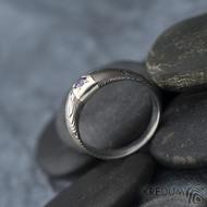 Prima Space se zirkonem 3 mm - velikost 55, čířka hlavy 5,5 mm do dlaně 3,2 mm, tloušťka 1 - 2,6, dřevo 75TM - Damasteel zásnubní prsten, SK1635 (9)