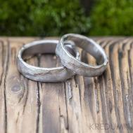 Snubní prsten nerezová ocel damasteel - Natura white - dřevo