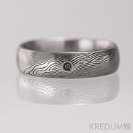 Snubní prsten kovaná nerezová ocel damasteel - PRIMA + černý diamant 1,7 mm