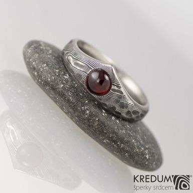 Zásnubní prsten damasteel - Královna natura a kabošon - dřevo