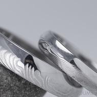 Snubní prsten damasteel - Prima DUO, pánský čárky světlé, dámský dřevo světlé