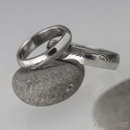 Snubní prsten damasteel - Prima DUO, struktura dřevo, tmavé