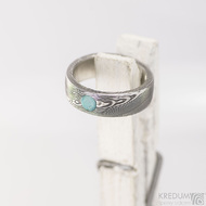 Snubní prsten nerezová ocel damasteel - Prima a tyrkys s přírodním povrchem, struktura dřevo