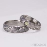 Snubní prsten nerezová ocel damasteel - Prima a kámen naturál, dřevo - vltavín