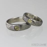 Snubní prsten nerezová ocel damasteel - Prima a kámen naturál, dřevo