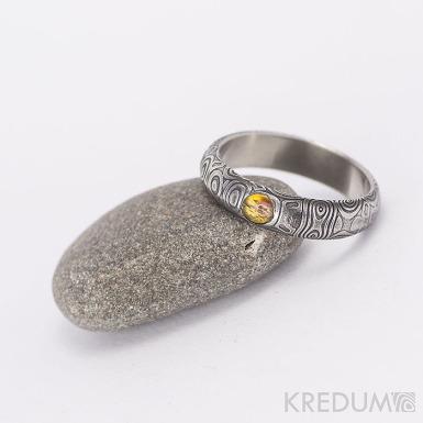 Prima a kámen naturál - snubní prsten nerezová ocel damasteel - kolečka
