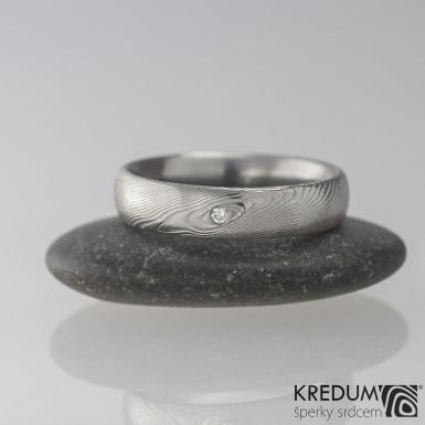 Snubní prsten kovaná nerezová ocel damasteel - PRIMA + čirý diamant 1,7 mm c- velikost 59