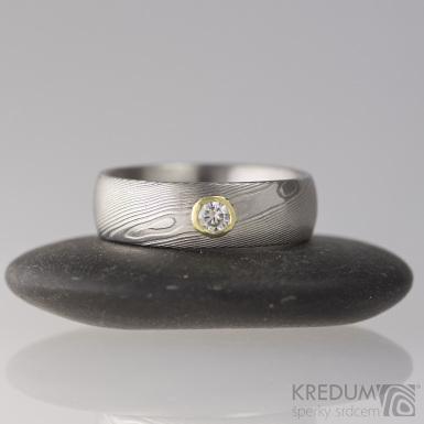 Snubní prsten damasteel dřevo - Prima a moissanite 3 mm ve zlatě, S1863