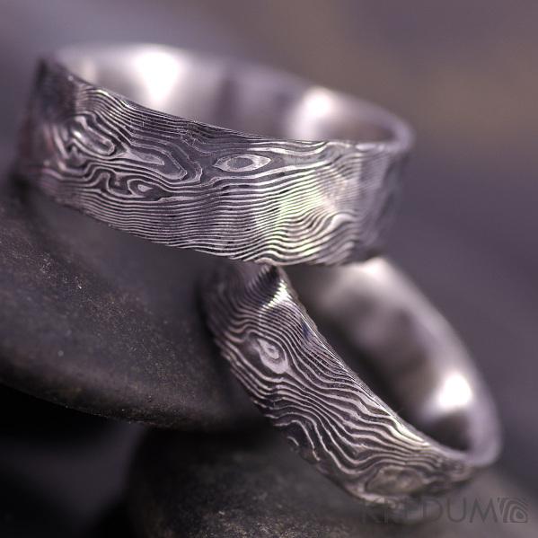 Snubní prsten nerezová ocel damasteel - Natura - dřevo