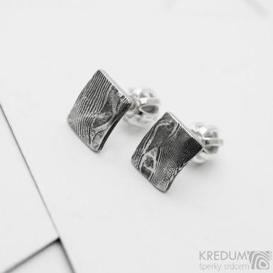 Natura Quatro mini - kované damasteel náušnice, SK3839