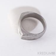 Kovaný prsten damasteel - Cleans s diamantem 2,7 mm - dřevo