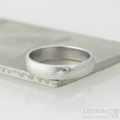 Prima glanc - dřevo a čirý diamant 1,5 mm - Snubní prsten nerezová ocel damasteel