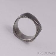 Kovaný snubní prsten damasteel - Purs - dřevo