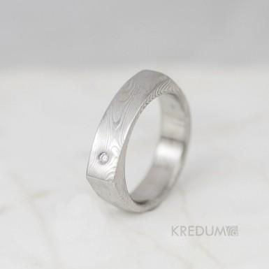 Kovaný prsten damasteel - Cleans s diamantem 1,5 mm - dřevo