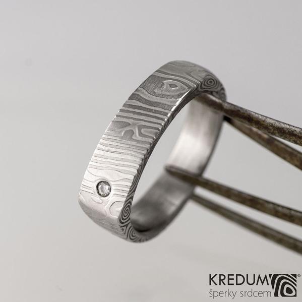 Kovaný prsten damasteel - Cleans s diamantem 1,5 mm - kolečka