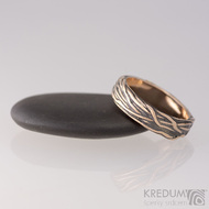 Motaný prsten - Gordik Mokume Gold red - patina - červené zlato a stříbro
