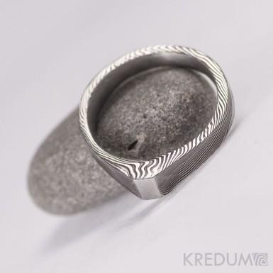 Kovaný prsten damasteel - Glorie - dřevo