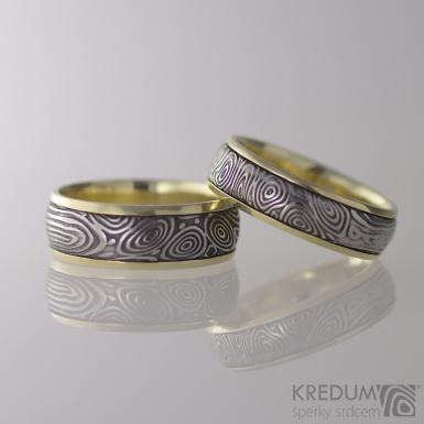 Kasiopea yellow - vítr - Zlaté snubní prsteny a damasteel