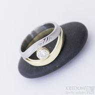Gemini stone - zlatý a damasteelový zásnubní / snubní prsten a moissanite 4 mm - produkt SK2390
