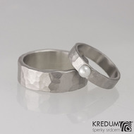 Prsten kovaná nerezová ocel - Draill s perlou - matný