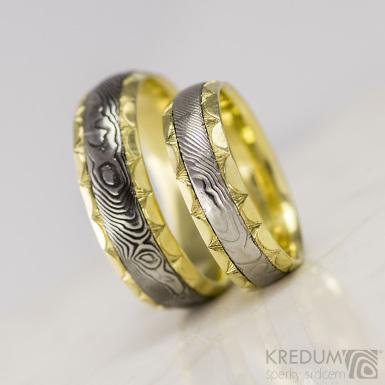 Kasiopea Engravius - Zlaté snubní prsteny a damasteel