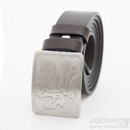 Nerezová spona na opasek s fíkovým listem a kožený pásek, SK2503 (3)