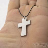 Kovaný křížek s očkem, světlý - Přívěsek z nerezové oceli, SK2440 (2)