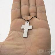 Kovaný křížek s očkem, světlý - Přívěsek z nerezové oceli, SK2440 (3)