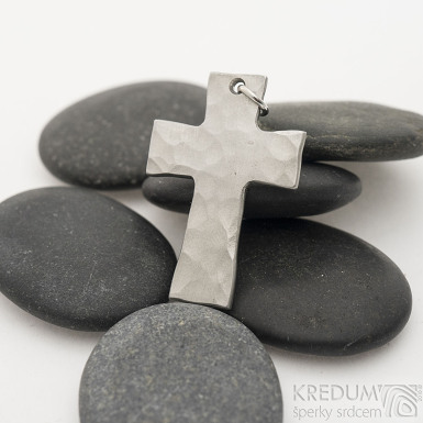 Kovaný křížek s očkem, světlý - Přívěsek z nerezové oceli, SK2440 (4)
