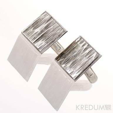 Manžetové knoflíčky, nerezová ocel - Quatro line