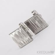 Manžetové knoflíčky, nerezová ocel - Quatro line - se stříbrným zapínáním